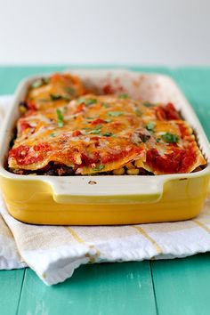 Mexican Lasagna | Annie's Eats  (Maybe sub enchilada sauce/tomato combo for plain crushed tomatoes?)