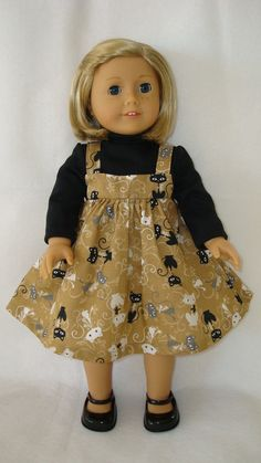 American Girl doll Clothes/ Cool Cats/ Jumper and by auntiejans, $11.25 As usual, love the fabric!
