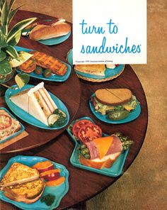 """Turn To Sandwiches"" 1957 // Is this not the best cookbook name ever? Retro Recipes, Vintage Recipes, Cookbook Recipes, Cooking Recipes, What's Cooking, 1950s Food, Retro Food, Vintage Cooking, Vintage Food"