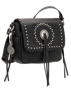 Bandana by American West Sioux Black Cross-Body Flap Bag With a silver-tone concho and studding decorating the front plus whip-stitched and tassel trim, this faux leather bag offers Americana appeal. It features a front flap closure concealing a main compartment with an zipper pocket and two open pouches and a slip pocket on the outside below the flap. It also has two open pockets at the ends and a back pocket. Faux leather  | Country Chic casual fashion accessories for women Casual Outfits