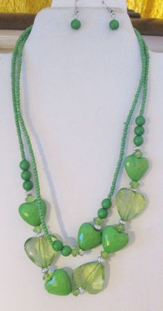 US SELLER Jewelry Set Green Hearts And Beads Necklace Matching Ball Earrings #KayImport