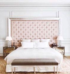 Blush pink velvet tufted headboard | pinterest: @Blancazh