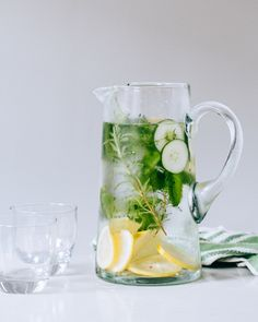 Cucumber, herb and lemon water: http://www.stylemepretty.com/living/2015/05/12/18-essential-entertaining-pitcher-drinks/