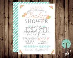 Baby Shower Invitation, BABY GIRL, Floral, Shabby Chic, Baby Shower,invite, Invitation