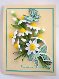 Quilling greeting card with bouquet of daisies