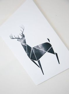 Black Geometric Art Modern Deer decor Poster Antler print by Fybur