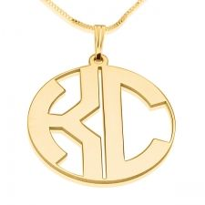 2 Letters Block Gold Monogram Necklace  Magnificent vintage style gold name necklace   This pendant provides a passionate flare, and it will up grade any casual look.  This designed necklace features 2 cutout block letters in a thin rounded frame  $199  http://www.namenecklacesale.com/2_letters_block_gold_monogram_necklace-closed.html
