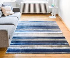 Signature Stripes Blue Modern Distressed Rug - Well Woven
