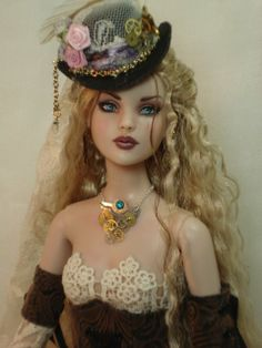 Steampunk Doll - neat idea for a bra top design made out of hexagons...
