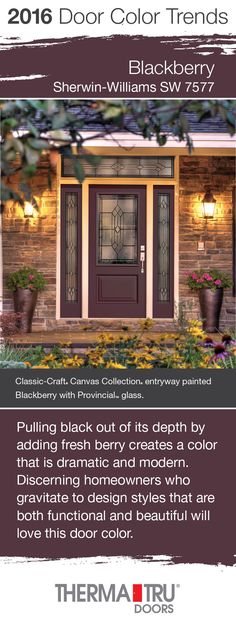 Blackberry by Sherwin-Williams – one of the front door color trends for 2016 – shown here on a Classic-Craft Canvas Collection door from Therma-Tru. #FrontDoor #CurbAppeal #Color