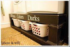 Se a máquina de lavar ficar em cima uma pequena estante, o espaço abaixo pode ser usado para colocar cestas de roupas. Isto também pode ser feito com uma prateleira acima da maquina
