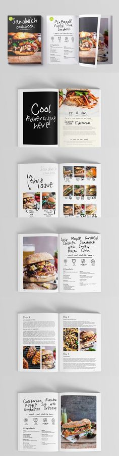 Sandwich CookBook Magazine 62 Pages. Compatible with: Adobe InDesign. File Size: 13.03 MB. Vector. DPI: 300. Layered. Tileable. Cookbook Template, Grilled Chicken Sandwiches, Smoky Bacon, Magazine Template, Cookbook Recipes, Cool Designs, Advertising, File Size, Adobe Indesign