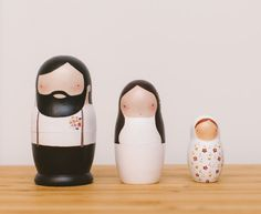 This listing is for set of 3 wedding matryoshka dolls. All dolls are hand painted using non-toxic acrylic paint and lacquer. All details are carefully