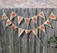 Merry Christmas Burlap Banner Bunting Christmas Garland Decoration - We Do Custom Banners. $29.00, via Etsy.