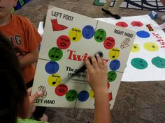 """This center worked with 2-5 students. The rules are the same as regular Twister except for using the colors. Instead of calling out a color, students had to call out the note name the spinner had landed on. This is a great game to help reinforce note names."" from Mrs. Q's music blog"