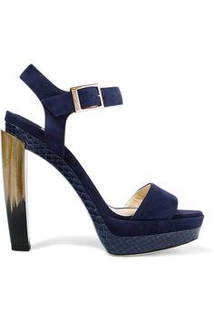Jimmy Choo | Dora elaphe-trimmed suede sandals | NET-A-PORTER.COM