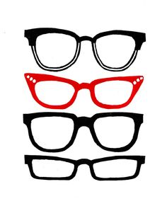 Retro glasses lino print (red) on Etsy, $43.71 AUD