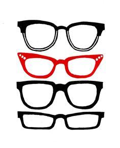 Retro glasses lino print (red) on Etsy, $43.71 AUD