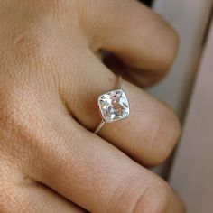 Cushion Cut White Topaz and Recycled Sterling by onegarnetgirl