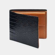 Men& Wallet in Black Croc and Cognac is part of Mens Wallet Antorini In Black Croc And Cognac Antorini ANTORINI men's wallet is the ultimate piece of elegance created in the hands of our Italian - Mens Luxury Brands, Luxury Gifts For Men, Simple Wallet, Leather Wallet Pattern, Designer Wallets, Wallets For Women, Leather Men, Fashion Accessories, Men's Wallets