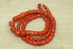 Bead Paradise - African Trade Beads - Lovely Strand of Antique Yemeni Coral Beads