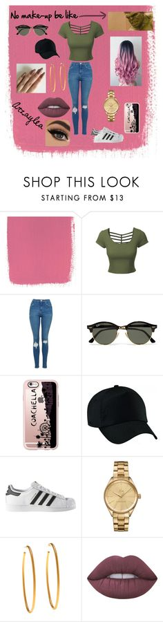 """Arzaylea at Coachella - Michael's Sister"" by socialrejectss on Polyvore featuring LE3NO, Topshop, Ray-Ban, Casetify, Vision, adidas, Lacoste, Yossi Harari and Lime Crime"