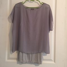 Classy shirt Grey sheer overlay with grey and white stripe connected tank Express Tops Blouses