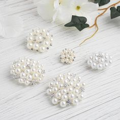 5 Pcs - Ivory - White Dual Color Pearl and Rhinestone Brooches - Floral Sash Pin Brooch Bouquet Decor Brooch Bouquets, Brooches, Bridal Bouquets, Pearl Bouquet, Wedding Chair Sashes, Floral Hoops, Bridal Shower Decorations, Wedding Decorations, Wedding Ideas