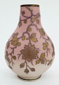 Webb Type English Burmese Glass Vase with Enameled Floral Decoration