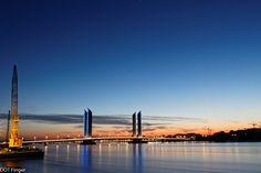 7th of September - Bordeaux (France): Sunset on Chaban Delmas bridge from the Garonne river right border.