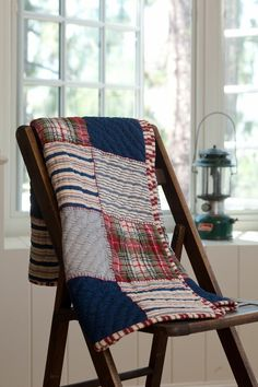 Sag Harbour Quilted Indigo & Stripes Throw - nice use of dark solids and stripes with plaids.