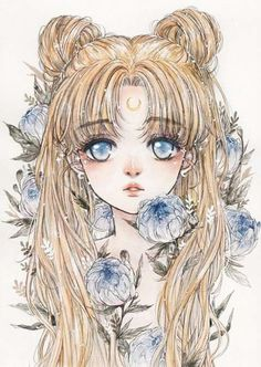 Sailor moon - anime drawing kawaii on We Heart It Sailor Moon S, Sailor Moon Crystal, Serena Sailor Moon, Sailor Moon Kunst, Sailor Moon Tumblr, Sailor Neptune, Sailor Venus, Sailor Mars, Manga Anime