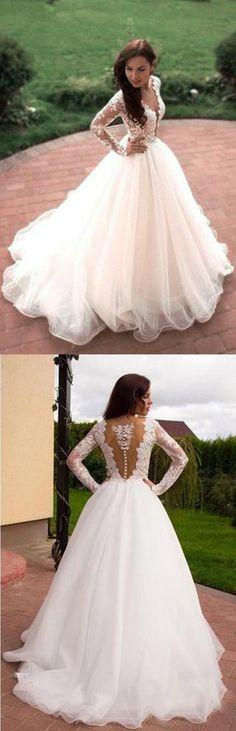 A-Line Wedding Dresses #A-LineWeddingDresses, Ivory Wedding Dresses #IvoryWeddingDresses, Wedding Dresses 2018 #WeddingDresses2018