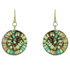 Brown Turquoise Earrings ~ Best selection of Tunics & matching accessories ~ Flat postage worldwide ~ Petite to Plus sizes ~ www.ilovetunics.com