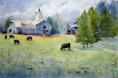 Working the Farm by Judy Mudd Watercolor ~ 14 x 21