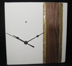 A clock mounted on canvas and featuring timber, gold leaf and crystal. Harmony Design, Handmade Clocks, Craft Shop, Gold Leaf, Interior Design, Studio, Crystals, Theatre, Crafts
