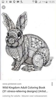 Zentangle Rabbit Coloring Pages