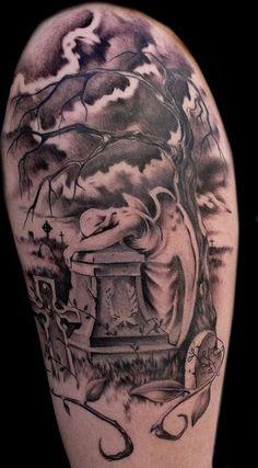 cat theme tattoo   25 Amazing Graveyard And Cemetery Tattoos