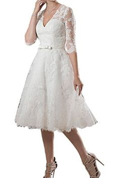 Prom Queen Women's Short A-line Half Sleeve Lace Wedding Dress Bridal Gowns