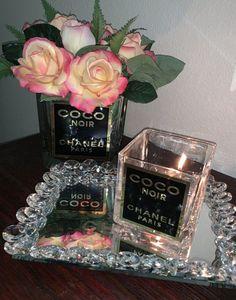 Coco Chanel, Chanel Black, Chanel Inspired Room, Chanel Bedroom, Parisian Bedroom, Giant Shoe Box, Square Glass Vase, Chanel Decor, Glamour Decor