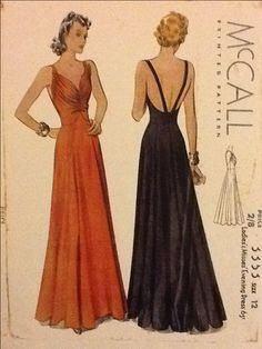 1930s evening gown, bodice ruching, low back.