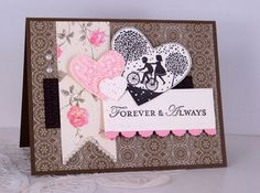 Stamps:  Loving Thoughts, Take It to Heart  Paper:  Soft Suede, Early Espresso, Very Vanilla, Attic Boutique DSP, Pretty in Pink  Ink:  Early Espresso, Pretty in Pink  Accessories:  Fashionable Hearts Embosslits Die, Simply Scored Scoring Tool, Color Spritzer Tool, Basic Pearls, Square Lattice Embossing Folder, Adorning Accents Edgelits Dies, marker