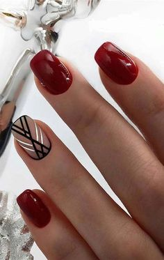 103 Pretty Nail Art Designs Ideas For 2019 We have collected a fashionable selection - beautiful nail art, nail design ideas for 2019 with photos, and we invite you to look at the most original nail design ideas, photos of which are presented . Burgundy Nail Designs, White Nail Designs, Burgundy Nails, Red Nails, White Nails, Nail Art Designs, Nails Design, Elegant Nail Designs, Accent Nail Designs