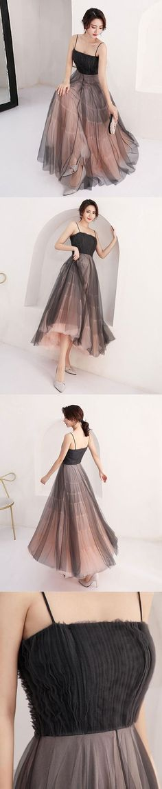 CUTE BLACK TULLE SHORT PROM DRESS WITH STRAPS, HOMECOMING DRESS M2786