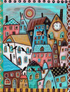 10 O'Clock 11x14 inch ORIGINAL CANVAS City Birds Cats PAINTING Folk Art Karla G…