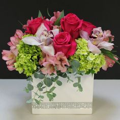RHINESTONE GARDEN:  Our white ceramic rectangle has the perfect rhinestone accent for the fashionista you know! Filled with roses, orchids and more in all shades of pink! #MatlackFlorist