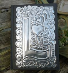 Pewter Hand Embossed 'Love' Journal by PewterConcepts on Etsy