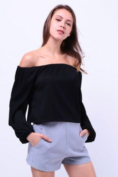 Textured Off Shoulder Top (Black) S$ 28.00