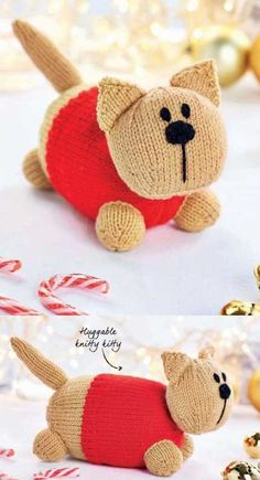 Free Knitting Pattern for a Huggable Cat Toy