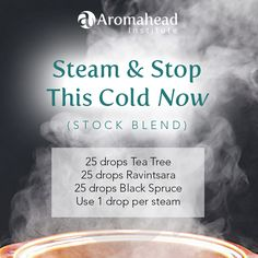 """""""Steam & Stop This Cold Now""""  A great way to use Tea Tree to fight respiratory infections is to inhale it.  Drop your oils into a 5 ml bottle with an orifice reducer. This is your """"stock blend"""".  Add 1 drop to a bowl of steaming water, close your eyes, and lean over the bowl to inhale the steam. Repeat several times a day for a week, then pause a few days, then repeat for another week.  Join us for for our class. Learn """"How To Protect Your Family from Colds and Flu Using Essential Oils"""""""